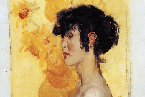 Vrouw voor zonnebloemen