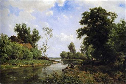 Jan Willem van Borselen: Gezicht op riviertje de Vlist