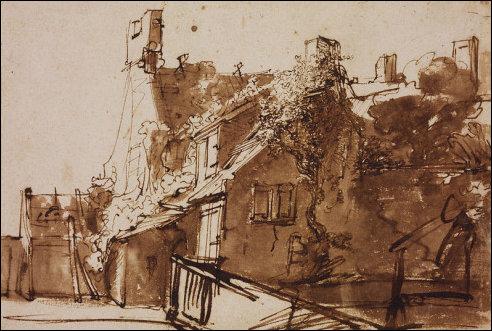 Rembrandt: Boerderij in zonlicht