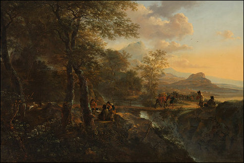 Jan Both: Italiaans landschap met tekenaar