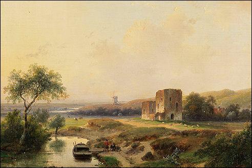Andreas Schelfhout: Rivierenlandschap bij Haarlem
