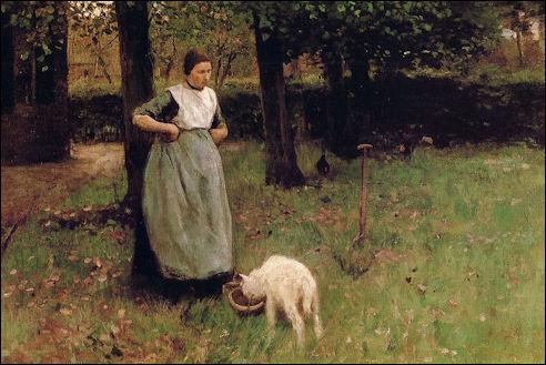 Anton Mauve: Vrouw met geitje in Laren