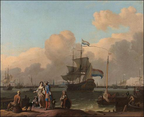 Fregat op het IJ bij Amsterdam