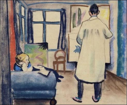 August Macke: Franz Marc met Maria in het atelier