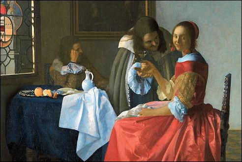 Vermeer en dame met wijnglas
