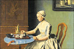 Hollands meisje met ontbijt