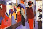 August Macke: Vrouwen voor een hoedenwinkel