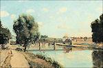 Camille Pissarro: Spoorbrug bij Pontoise
