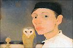 Jan Mankes met uil in 1911