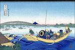 Katsushika Hokusai: Zonsondergang bij de Ryogoku-brug